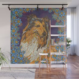 Rough Collie and Blue Flowers Wall Mural