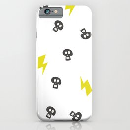 Pattern skull and thunderbolt. Hand drawn design texture on white background iPhone Case