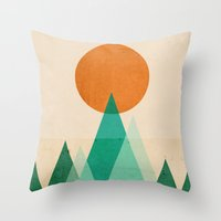high Throw Pillows featuring No mountains high enough by Picomodi