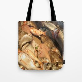 Variety of Fresh Fish Seafood on Ice Tote Bag