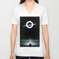 interstellar V-neck T-shirts featuring INTERSTELLAR by Tony Vazquez