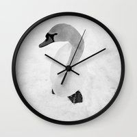 swan Wall Clocks featuring swan by Richard PJ Lambert