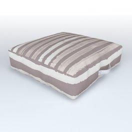 Simply Shibori Stripes Lunar Gray and Red Earth Outdoor Floor Cushion
