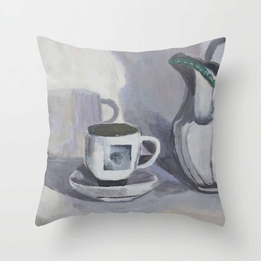 Painting, Drawing, Watercolor, Cup, Mug, Tea-cup, … Throw Pillow by Myartspacepr PLW8401478