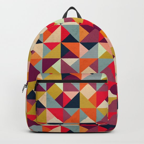 Bright Geometric Happy Pattern Backpack