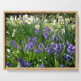 SPRING FLOWERS IN A COTTAGE GARDEN CORNWALL Serving Tray