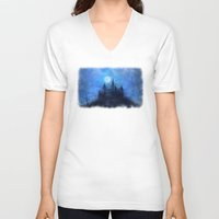 castle in the sky V-neck T-shirts featuring Mystical castle by Pirmin Nohr