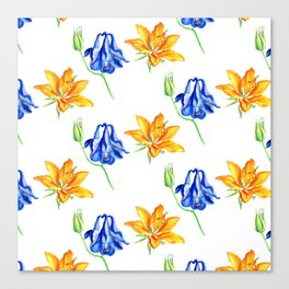 Columbine and Lily Hand Painted Diagonally Repeating Floral Pattern Canvas Print