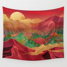 """""""Tropical golden sunset over fantasy pink forest"""" Wall Tapestry"""