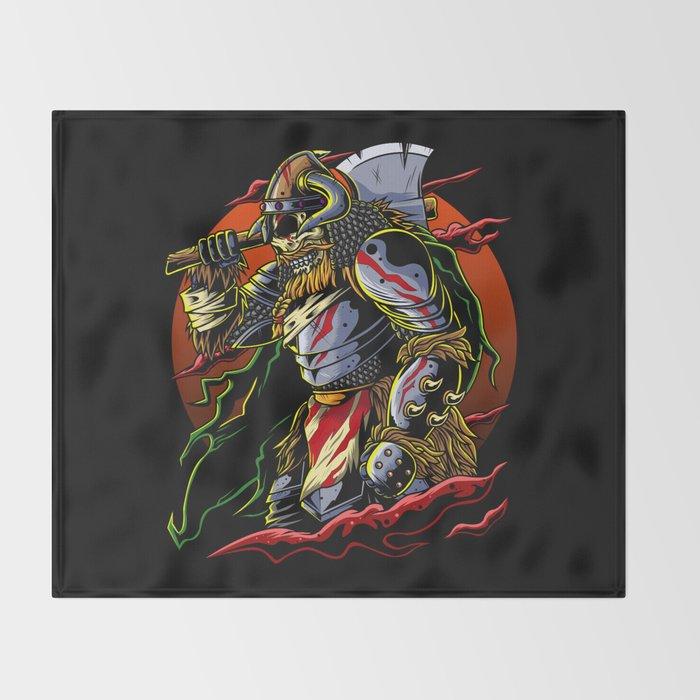 Samurai Viking Warrior Ronin Berserk Armor Axe Throw Blanket By