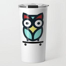 Owl Skateboarding Skateboarder Nocturnal Birds Night Hunter Animals Wildlife Wilderness Gift Travel Mug