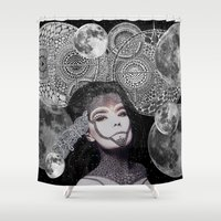 bjork Shower Curtains featuring Bjork by Luna Portnoi