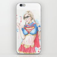 supergirl iPhone & iPod Skins featuring Supergirl by James Murlin