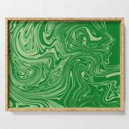 Green pastel abstract marble Serving Tray