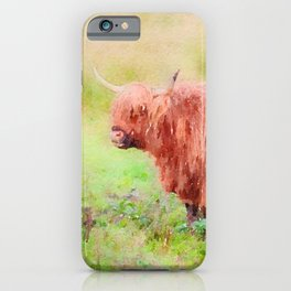 Highland cow watercolor painting #7 iPhone Case
