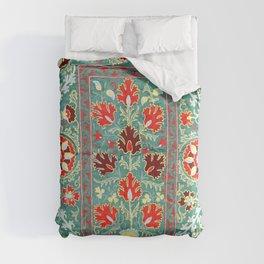 Turquoise Suzani Antique Floral Uzbek Embroidery Print Comforters