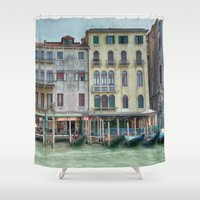 postcard Shower Curtains featuring Postcard from Venice Italy by Elliott's Location Photography