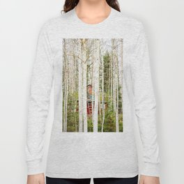 Red hut in forest Long Sleeve T-shirt