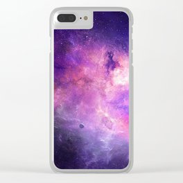 Purple space Clear iPhone Case
