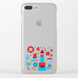 pattern with sea icons on white background. Seamless pattern. Red and blue Clear iPhone Case