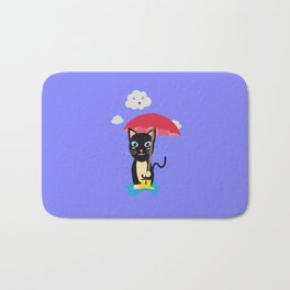 Cat in the rain with Umbrella Bath Mat