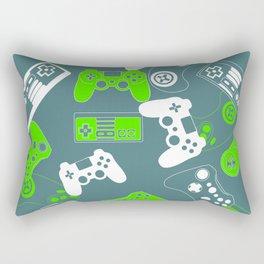 Video Games green on grey Rectangular Pillow