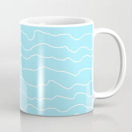 Turquoise with White Squiggly Lines Coffee Mug