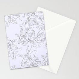 lavender line art floral pattern Stationery Cards