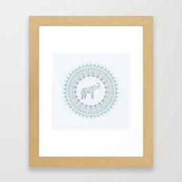 Aqua Mandala Elephant Framed Art Print
