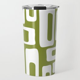 Retro Mid Century Modern Abstract Pattern 335 Olive Green Travel Mug