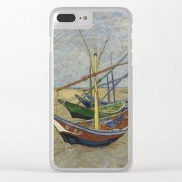 "Vincent Van Gogh ""Fishing boats on the Beach at Les Saintes-Maries-de-la-Mer"" Clear iPhone Case"