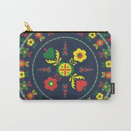 Folk Flowers with Green  Border Carry-All Pouch