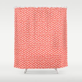 Forget Me Nots - White on Living Coral Shower Curtain