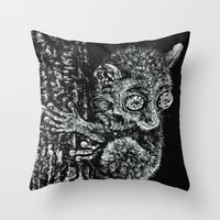 philippines Throw Pillows featuring Bohol Tarsier from the Philippines by Nathan Cole