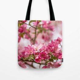 Bright Pink Crabapple Blossoms Tote Bag