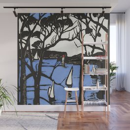"""""""Harbour Foreshore"""" by Margaret Preston Wall Mural"""