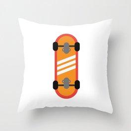 Orange Skateboard Throw Pillow