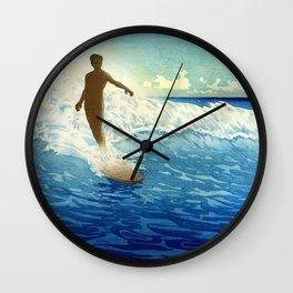 Hawaiian Surfer portrait painting by Charles W. Bartlett Wall Clock