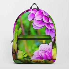 LILAC PURPLE DAHLIA FLOWERS & BUDS Backpack