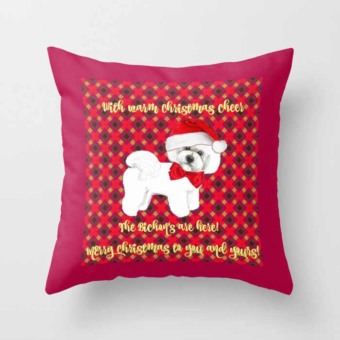 Plaid Christmas Pillows.Bichon Frise Red Plaid Christmas Holiday Themed Pattern Print Pet Friendly Dog Breed Gifts Throw Pillow By Magentarose