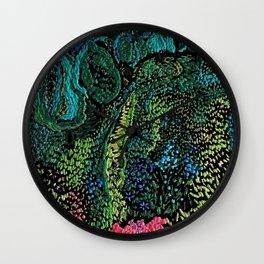 cheerful handmade embroidery in the digital world Wall Clock