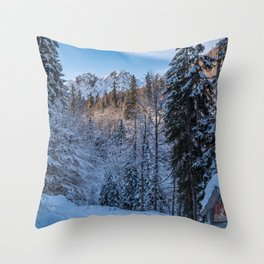 Via Crucis on the Lussari mount Throw Pillow