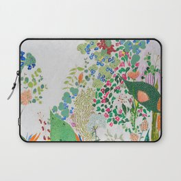 Painterly Floral Jungle on Pink and White Laptop Sleeve