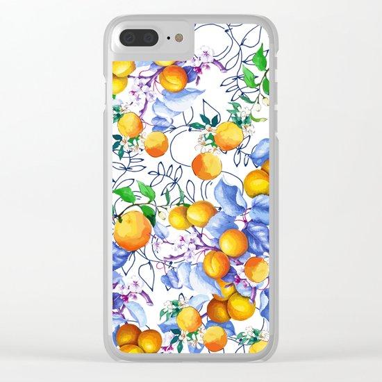 Peach Pattern Clear iPhone Case