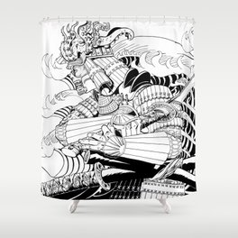 Tsunami Samurai Shower Curtain