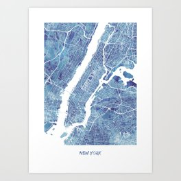 New York City Map United states watercolor Art Print