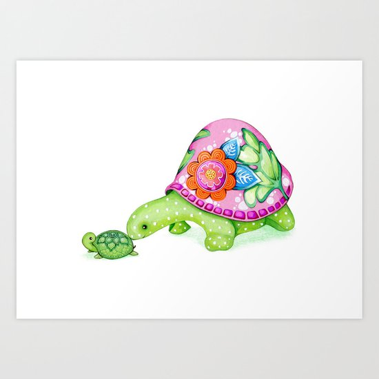 Mom and Baby Turtle Art Print