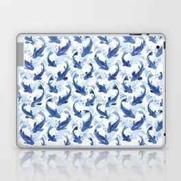 Koi Fish Dance / blue watercolor Laptop & iPad Skin