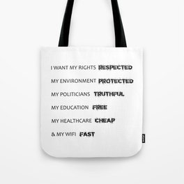 What I want for Christmas (or the next election) Tote Bag
