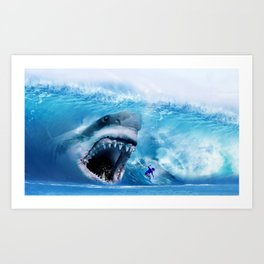 Megalodon attacks Surfer in a Wave Art Print